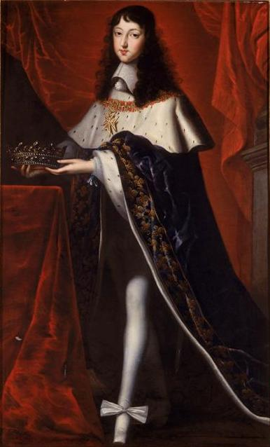 Philippe de France, Duke of Anjou, wearing the clothes to his brother's coronation and holding the crown of a son of France. Unknown artist, c1654, Château de Versailles